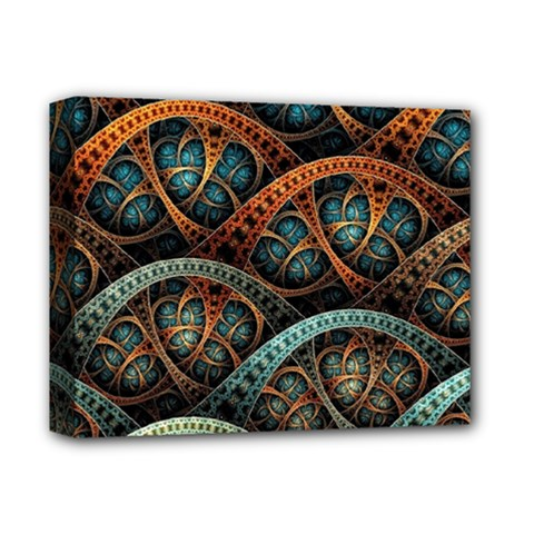 Fractal Art Pattern Flower Art Background Clored Deluxe Canvas 14  X 11  by BangZart