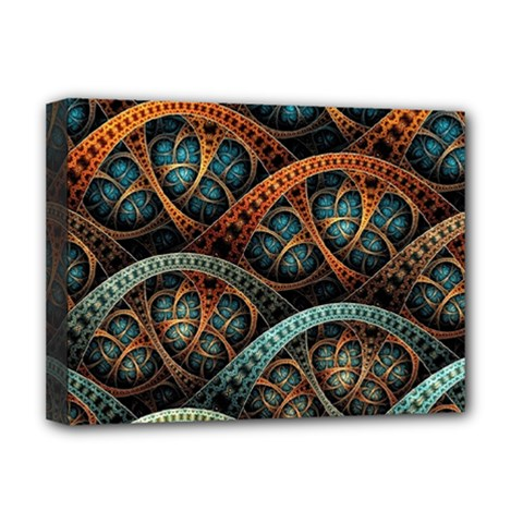 Fractal Art Pattern Flower Art Background Clored Deluxe Canvas 16  X 12   by BangZart