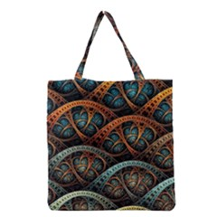 Fractal Art Pattern Flower Art Background Clored Grocery Tote Bag by BangZart