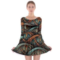 Fractal Art Pattern Flower Art Background Clored Long Sleeve Skater Dress