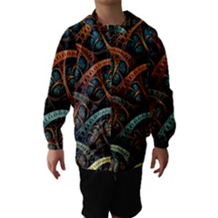Fractal Art Pattern Flower Art Background Clored Hooded Wind Breaker (kids)