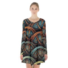 Fractal Art Pattern Flower Art Background Clored Long Sleeve Velvet V Neck Dress