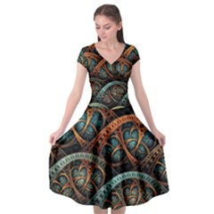 Fractal Art Pattern Flower Art Background Clored Cap Sleeve Wrap Front Dress