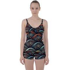 Fractal Art Pattern Flower Art Background Clored Tie Front Two Piece Tankini