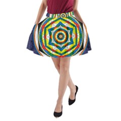 Flower Of Life Universal Mandala A Line Pocket Skirt