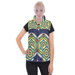 Flower Of Life Universal Mandala Women s Button Up Puffer Vest