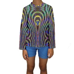 Curves Color Abstract Kids  Long Sleeve Swimwear