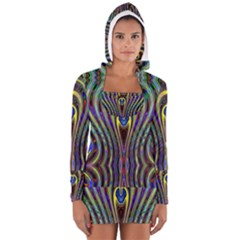 Curves Color Abstract Long Sleeve Hooded T Shirt