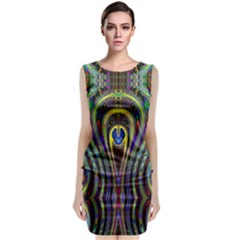 Curves Color Abstract Classic Sleeveless Midi Dress