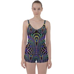 Curves Color Abstract Tie Front Two Piece Tankini