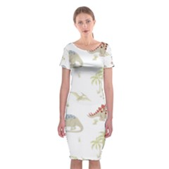 Dinosaur Art Pattern Classic Short Sleeve Midi Dress