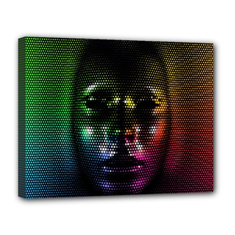 Digital Art Psychedelic Face Skull Color Canvas 14  X 11  by BangZart