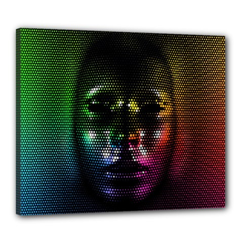 Digital Art Psychedelic Face Skull Color Canvas 24  X 20  by BangZart