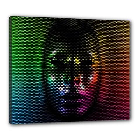 Digital Art Psychedelic Face Skull Color Canvas 24  X 20