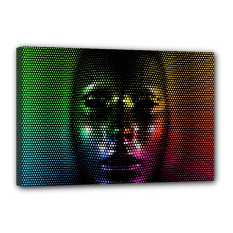 Digital Art Psychedelic Face Skull Color Canvas 18  X 12