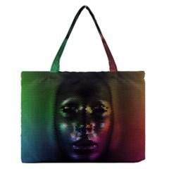 Digital Art Psychedelic Face Skull Color Medium Zipper Tote Bag