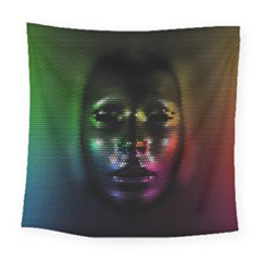 Digital Art Psychedelic Face Skull Color Square Tapestry (large)