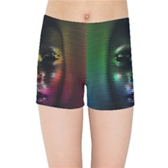 Digital Art Psychedelic Face Skull Color Kids Sports Shorts