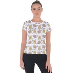 Cute Hamster Pattern Short Sleeve Sports Top