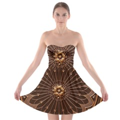 Decorative Antique Gold Strapless Bra Top Dress