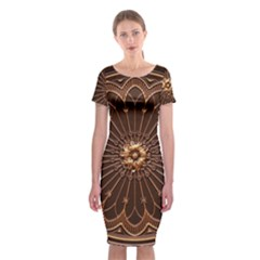 Decorative Antique Gold Classic Short Sleeve Midi Dress