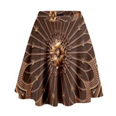Decorative Antique Gold High Waist Skirt by BangZart