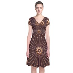 Decorative Antique Gold Short Sleeve Front Wrap Dress