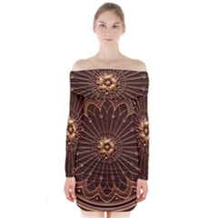Decorative Antique Gold Long Sleeve Off Shoulder Dress by BangZart