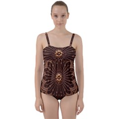 Decorative Antique Gold Twist Front Tankini Set