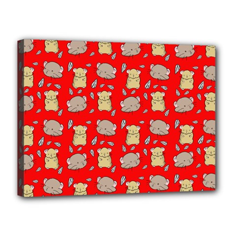 Cute Hamster Pattern Red Background Canvas 16  X 12  by BangZart