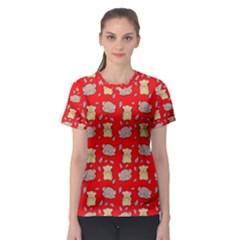 Cute Hamster Pattern Red Background Women s Sport Mesh Tee
