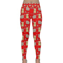 Cute Hamster Pattern Red Background Classic Yoga Leggings