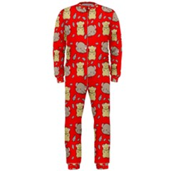 Cute Hamster Pattern Red Background Onepiece Jumpsuit (men)