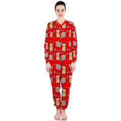 Cute Hamster Pattern Red Background Onepiece Jumpsuit (ladies)