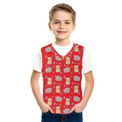 Cute Hamster Pattern Red Background Kids  Sportswear