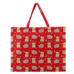 Cute Hamster Pattern Red Background Zipper Large Tote Bag by BangZart