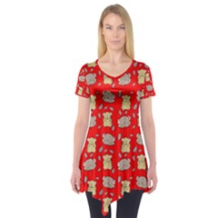 Cute Hamster Pattern Red Background Short Sleeve Tunic