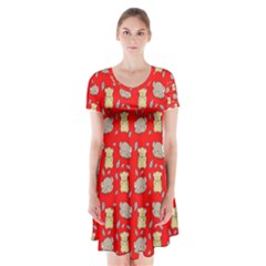 Cute Hamster Pattern Red Background Short Sleeve V Neck Flare Dress