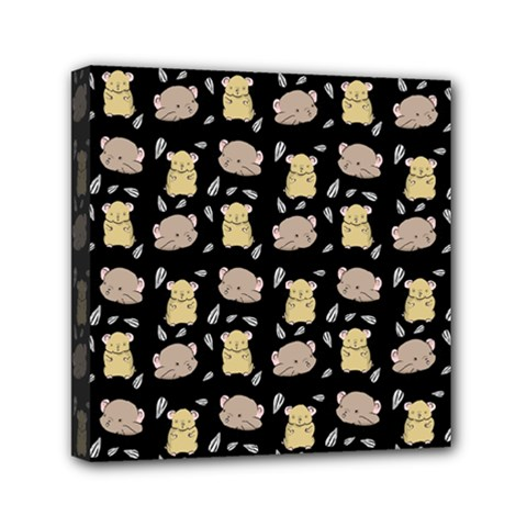 Cute Hamster Pattern Black Background Mini Canvas 6  X 6