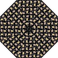 Cute Hamster Pattern Black Background Straight Umbrellas by BangZart