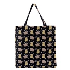 Cute Hamster Pattern Black Background Grocery Tote Bag by BangZart