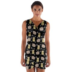 Cute Hamster Pattern Black Background Wrap Front Bodycon Dress