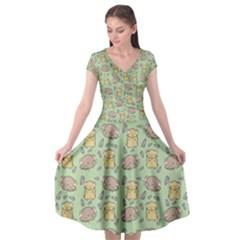 Cute Hamster Pattern Cap Sleeve Wrap Front Dress