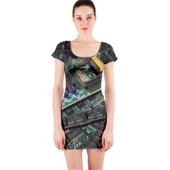 Computer Ram Tech Short Sleeve Bodycon Dress
