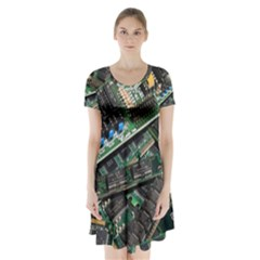 Computer Ram Tech Short Sleeve V Neck Flare Dress