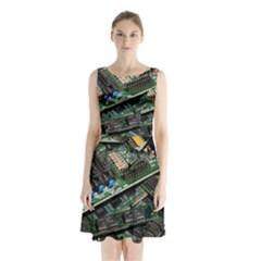 Computer Ram Tech Sleeveless Waist Tie Chiffon Dress