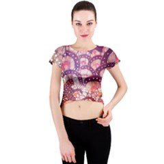 Colorful Art Traditional Batik Pattern Crew Neck Crop Top