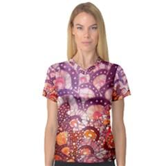 Colorful Art Traditional Batik Pattern V Neck Sport Mesh Tee