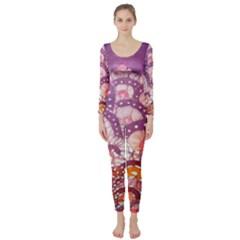 Colorful Art Traditional Batik Pattern Long Sleeve Catsuit