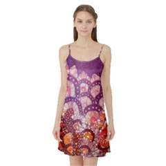 Colorful Art Traditional Batik Pattern Satin Night Slip